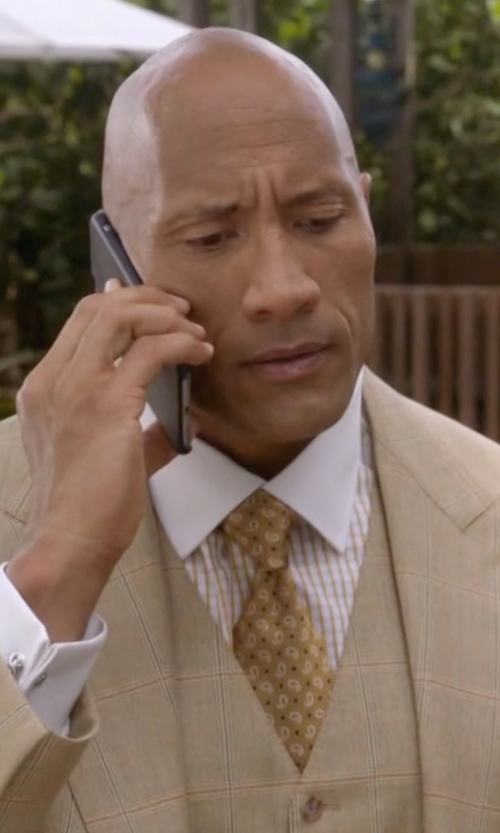 Dwayne Johnson with Stefano Ricci Neat Paisley Pattern Silk Tie in Ballers