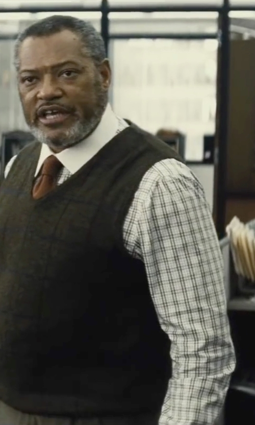 Laurence Fishburne with Paul Fredrick French Cuff Dress Shirt in Batman v Superman: Dawn of Justice