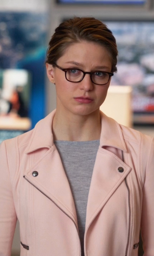 Melissa Benoist with Only Wool Biker Jacket in Supergirl