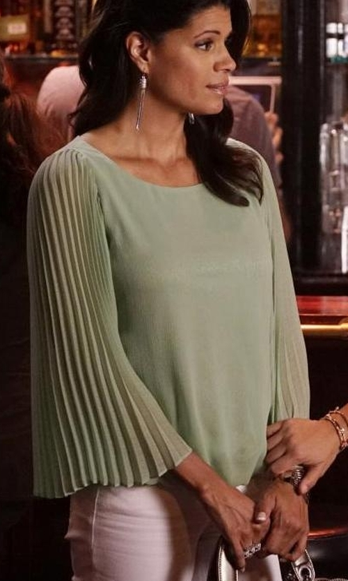 Andrea Navedo with Alfani Pleat-Sleeve Blouson Top in Jane the Virgin