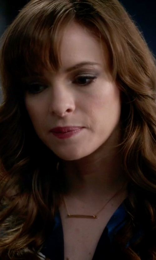 Danielle Panabaker with Jennifer Zeuner Bar-Pendant Necklace in The Flash