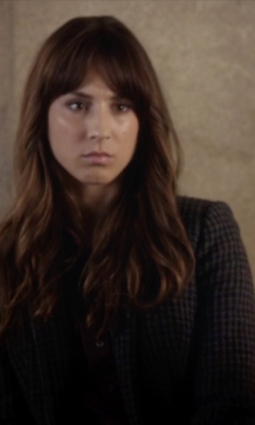 Troian Bellisario with Golden Goose Check Blazer in Pretty Little Liars