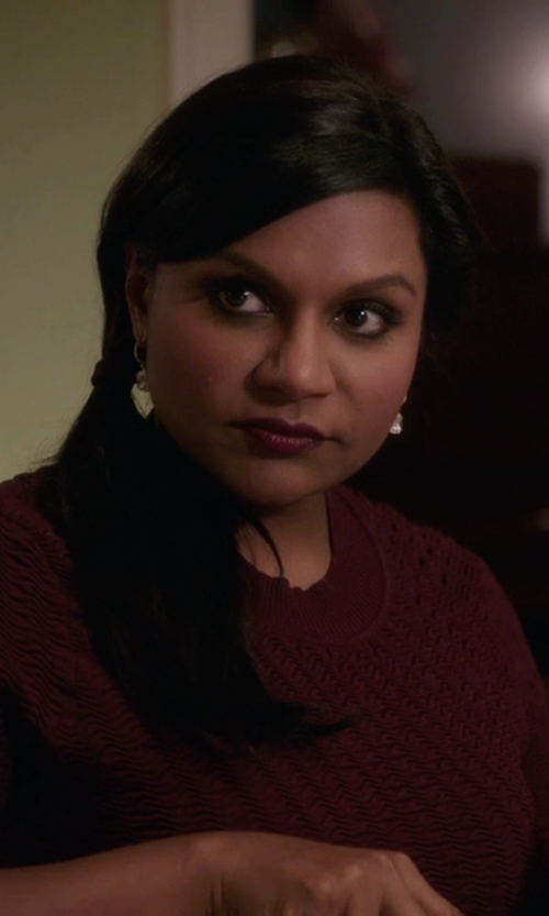 Mindy Kaling with J.Crew Cambridge Cable Crewneck Sweater in The Mindy Project