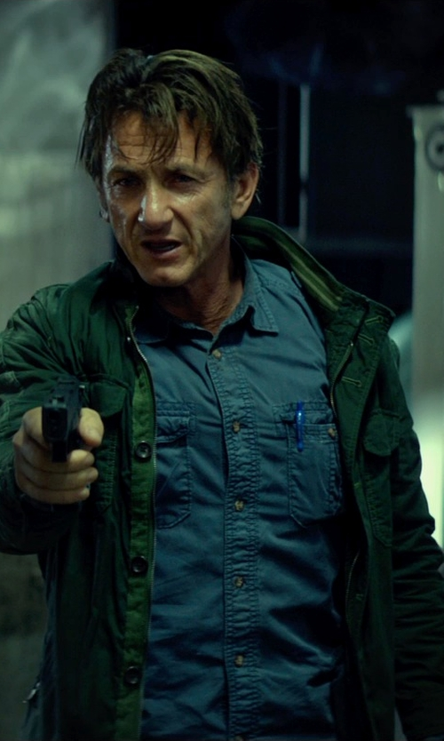 Sean Penn with Vince Men's Zip-Front Military Jacket in The Gunman