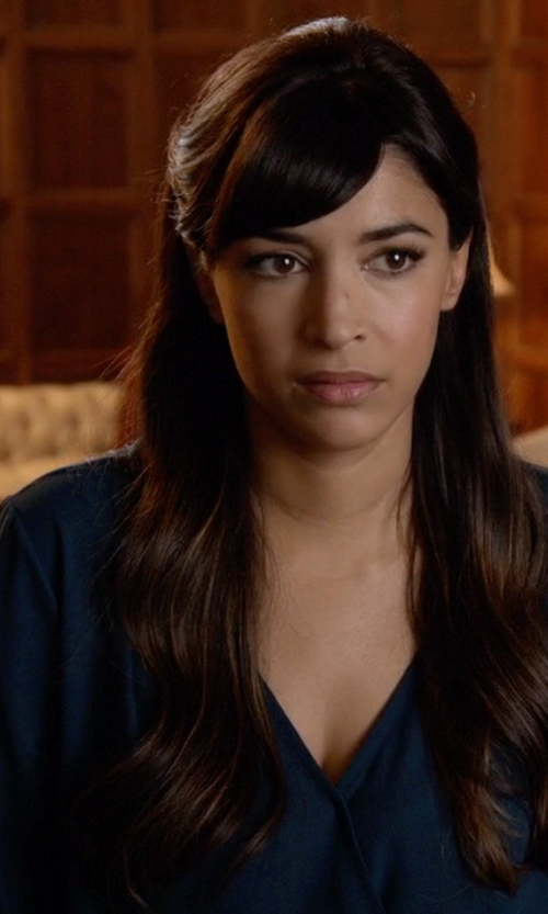 Hannah Simone with Warehouse Long Sleeve Wrap Front Blouse in New Girl