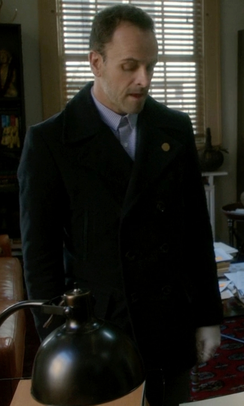 Jonny Lee Miller with Tom Ford Cotton Pea Coat in Elementary