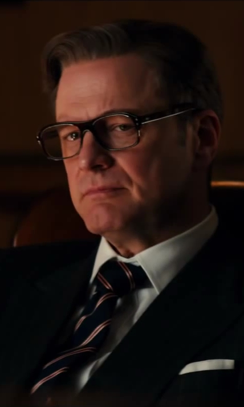 Colin Firth with Cutler and Gross Tortoiseshell Acetate Square-Frame Optical Glasses in Kingsman: The Secret Service