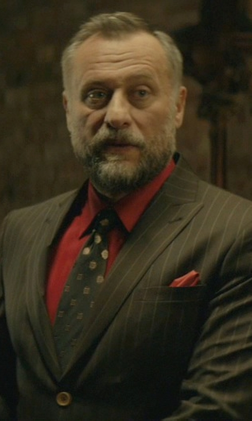 Michael Nyqvist with Hickey Freeman Pinstripe Super 150s Wool Suit in John Wick