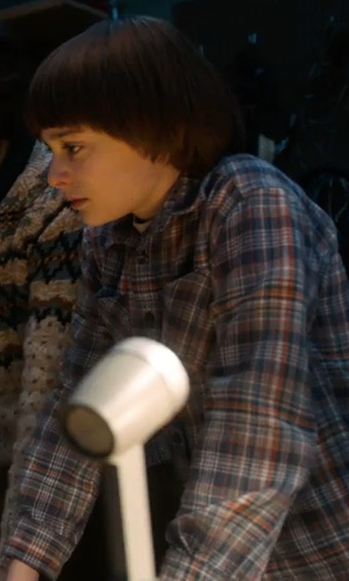 Noah Schnapp with Peter Millar Plaid Long-Sleeve Sport Shirt in Stranger Things
