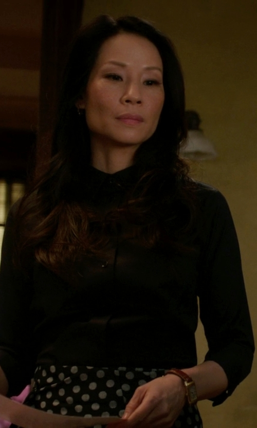 Lucy Liu with Carlo Chionna Button Down Shirt in Elementary