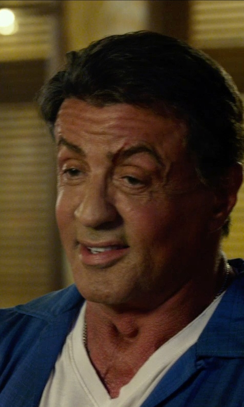 Sylvester Stallone with ATM Anthony Thomas Melillo V Neck Slub Jersey T-Shirt in The Expendables 3