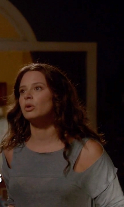 Katie Lowes with DKNY Jeans Asymmetrical Cold-Shoulder Top in Scandal