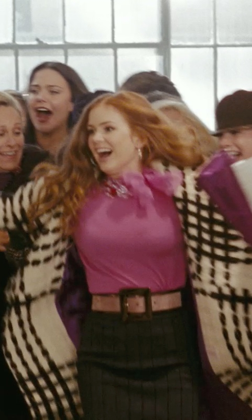 Isla Fisher with Christian Dior Pink Embellished Tie Neck Blouse in Confessions of a Shopaholic