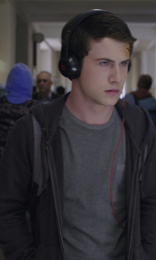 Dylan Minnette with PS by Paul Smith Organic-Cotton Zip-Front Hoodie in 13 Reasons Why