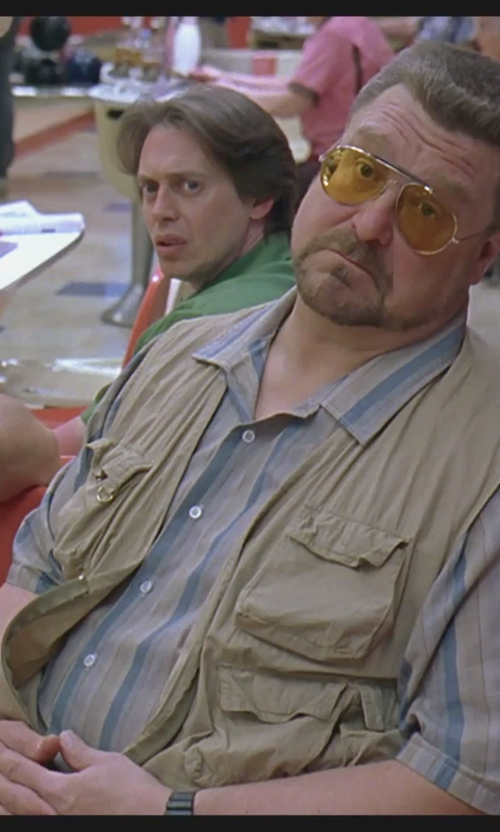 Steve Buscemi with Harriton Men's Barbados Textured Camp Shirt in The Big Lebowski
