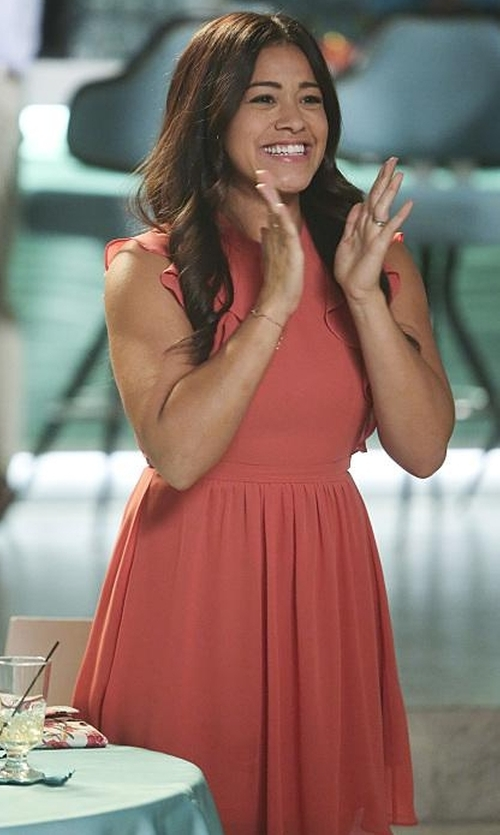 Gina Rodriguez with Opening Ceremony William Ruffle Sleeve Dress in Jane the Virgin