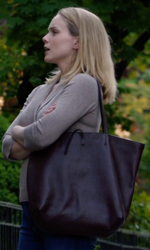 Christina Cole with Tory Burch York Small Buckle Tote Bag in Suits