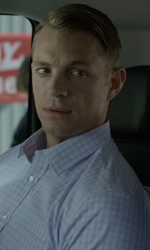 Joel Kinnaman with Peter Millar Sheila Performance Tattersall Sport Shirt in House of Cards
