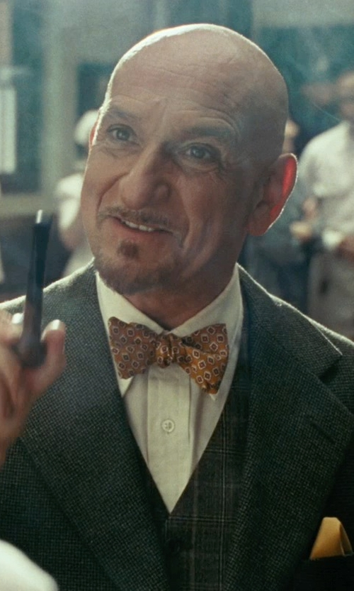 Ben Kingsley with Salvatore Ferragamo Silk Twill Pocket Square in Shutter Island