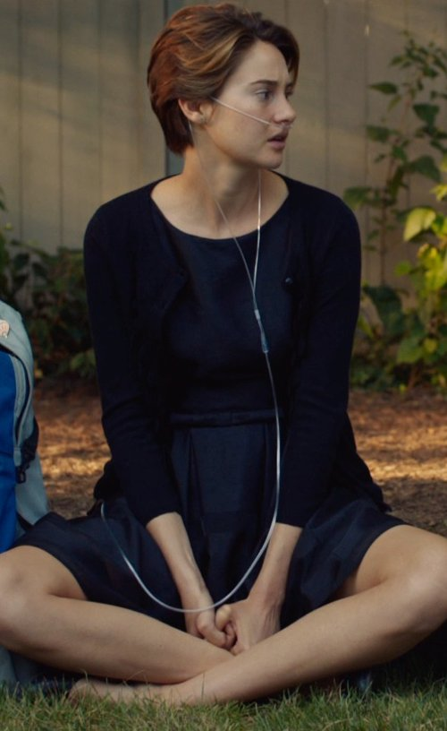 Shailene Woodley with Anthropologie Zigzag Crewneck Cardigan in The Fault In Our Stars