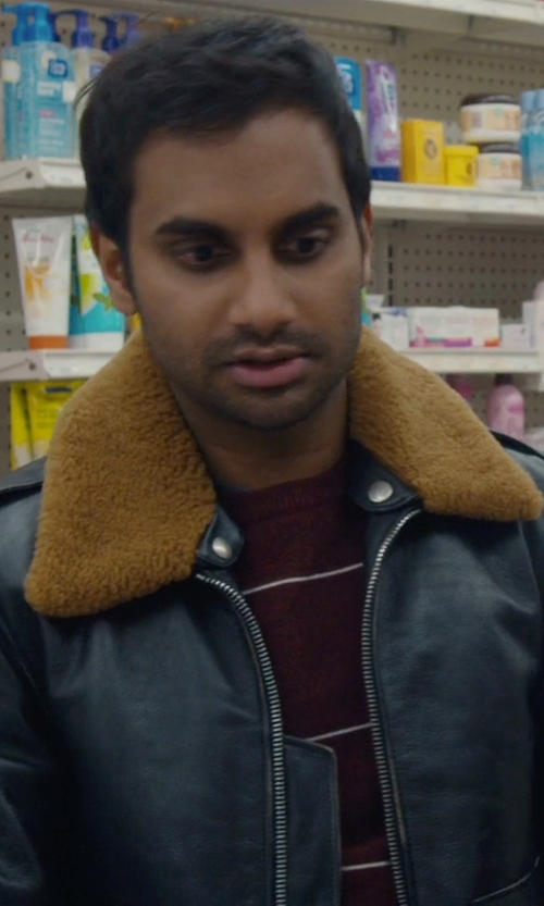 Aziz Ansari with Obey Nep Stripe Pocket Crewneck T-Shirt in Master of None