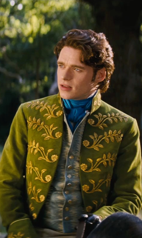 Richard Madden with Sandy Powell (Costume Designer) Custom Made Green Suit Costume (Prince Charming) in Cinderella