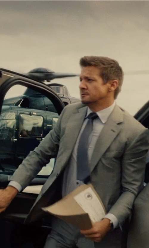 Jeremy Renner with Hugo Aeron/Hamen Extra Trim Fit Wool Suit in Mission: Impossible - Rogue Nation