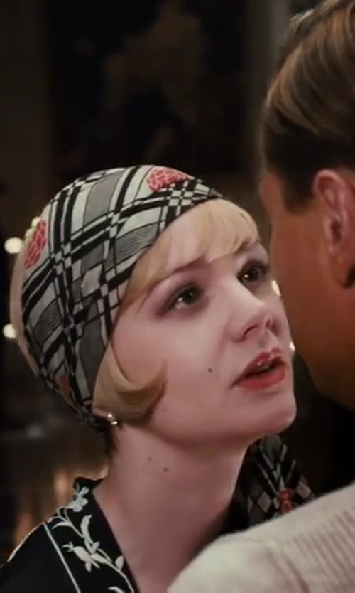 Carey Mulligan with Brittany Satin Stripe Scarf in The Great Gatsby