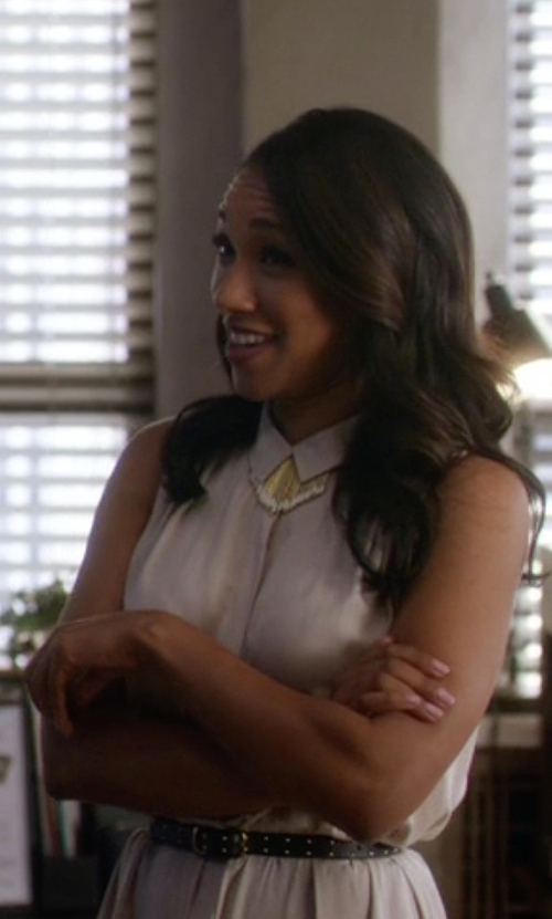 Candice Patton with Alice & Olivia Studded Nappa Skinny Belt in The Flash