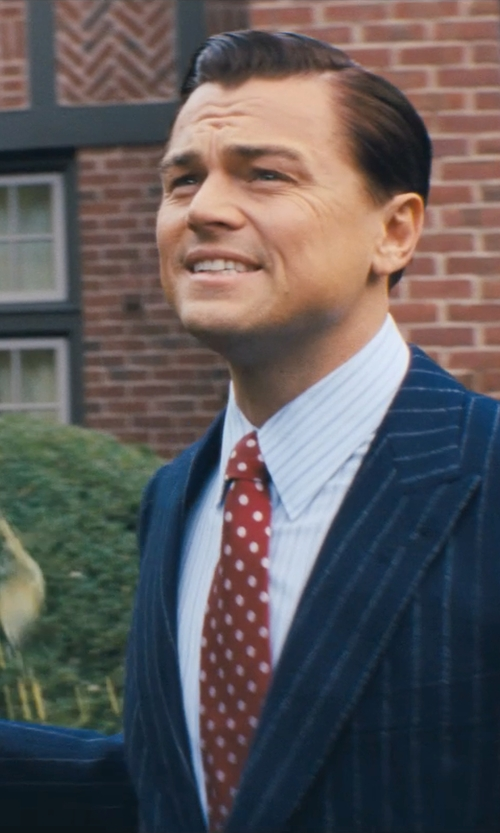 Leonardo DiCaprio with Giorgio Armani Custom Made Pinstripe Suit in The Wolf of Wall Street