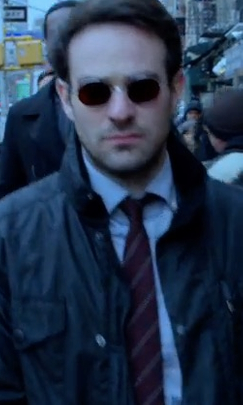 Charlie Cox with Stephanie Maslansky (Costume Designer) Custom Made Red Lenses Round Sunglasses in Marvel's The Defenders