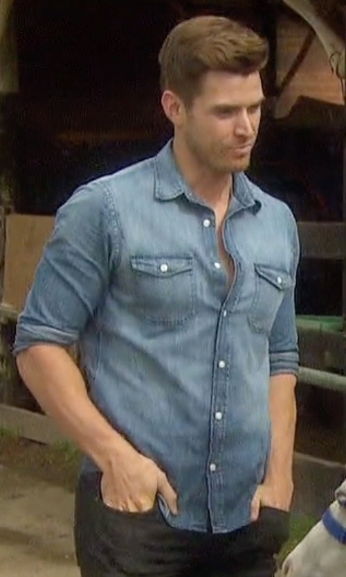 Luke with The Kooples Sport Denim Button-Front Shirt in The Bachelorette