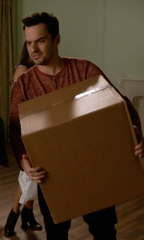 Jake Johnson with AG Adriano Goldschmied Commute Rag Henley Shirt in New Girl