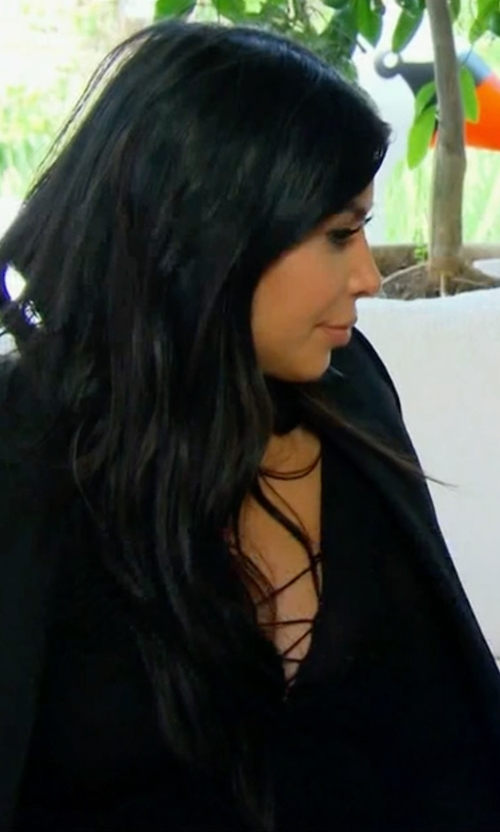 Kim Kardashian West with Donna Mizani Lace Up Midi Slit Dress in Keeping Up With The Kardashians