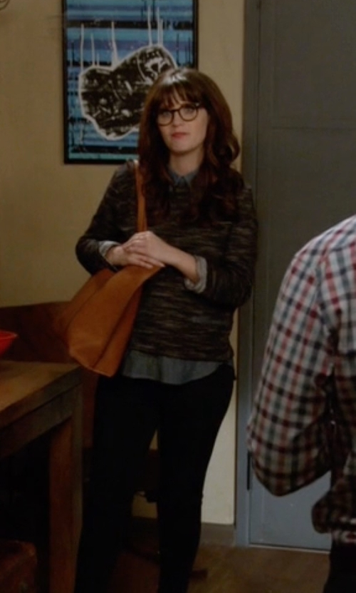 Zooey Deschanel with Urban Outfitters Reversible Vegan Leather ToteBag in New Girl