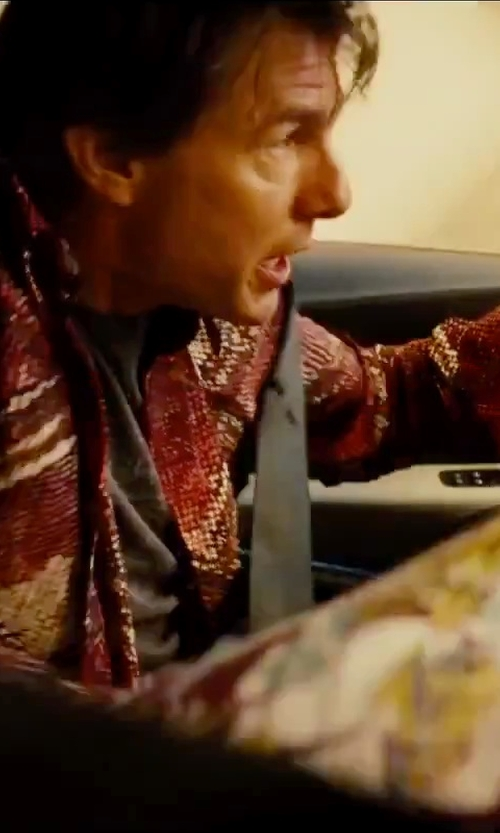 Tom Cruise with Just Cavalli Printed Shirt in Mission: Impossible - Rogue Nation