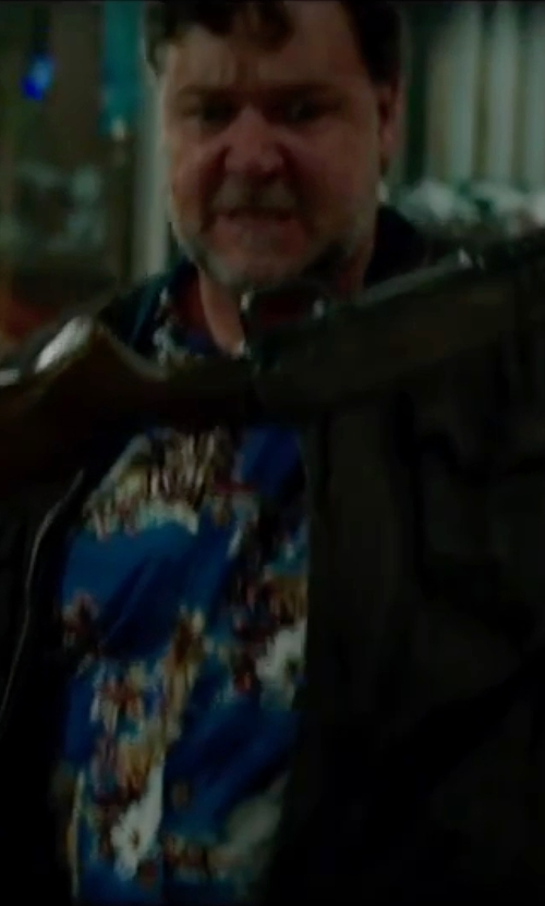 Russell Crowe with Anto Beverly Hills Custom Made Floral Hawaiian Button Shirt in The Nice Guys