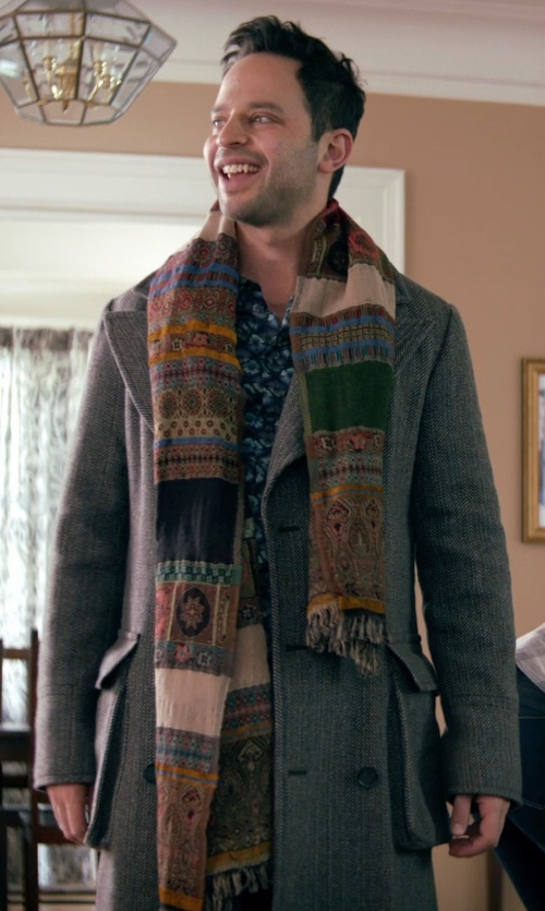 Nick Kroll with Our Legacy Long Ten Grey Chevron Coat in Adult Beginners