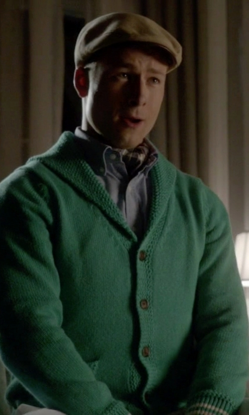 Glen Powell with Brooks Brothers Shawl Collar Button-Front Cardigan in Scream Queens