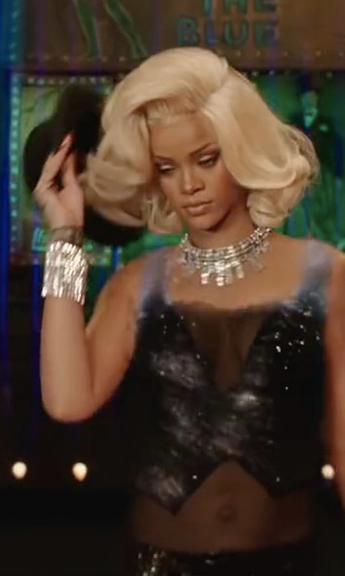 Rihanna with Alexis Bittar Crystal-Encrusted Spiked Lattice Cuff Bracelet in Valerian and the City of a Thousand Planets