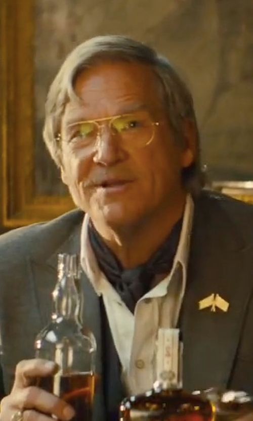Jeff Bridges with Kingsman + Cutler And Gross Statesman Aviator-Style Gold-Tone Optical Glasses in Kingsman: The Golden Circle
