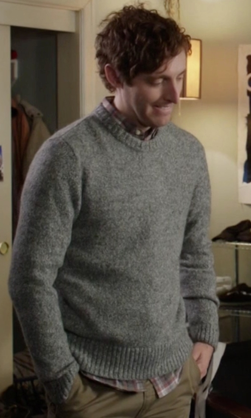 Thomas Middleditch with Original Penguin  Donegal Heritage Slim Fit Crew Neck Sweater in Silicon Valley