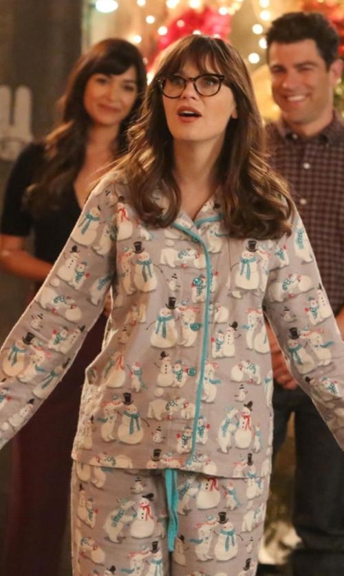 Zooey Deschanel with Nite Nite Munki Munki Snowman Flannel Pajamas in New Girl