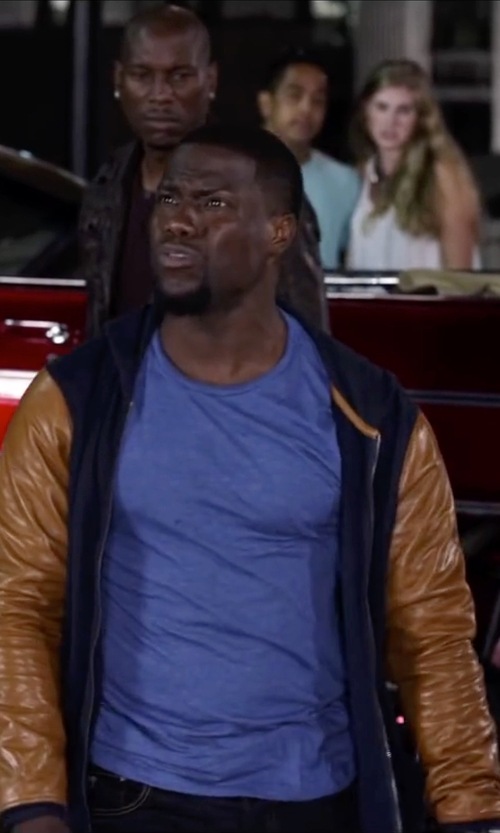 Kevin Hart with Golden Bear Wool Varsity Jacket With Suede Sleeves in Ride Along 2