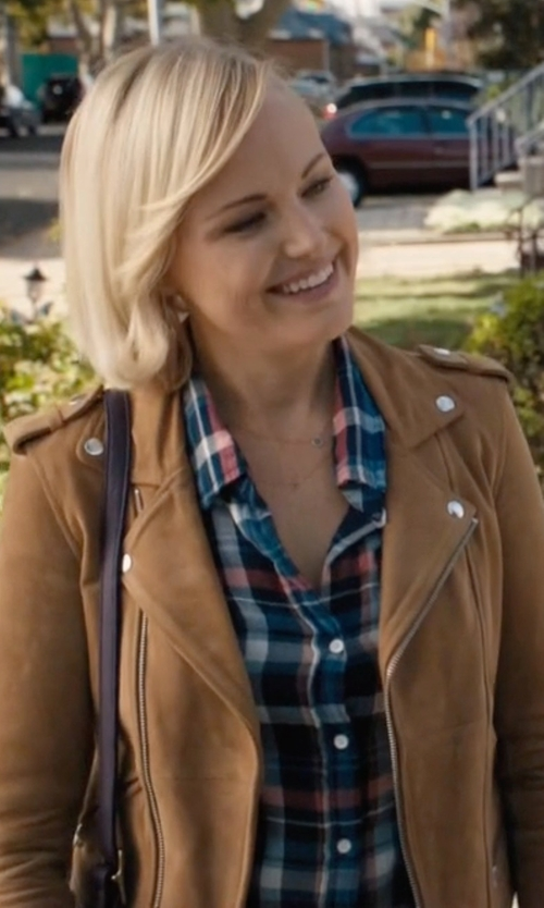 Malin Akerman with Sea Contrast-Back Plaid Flannel Shirt in Billions