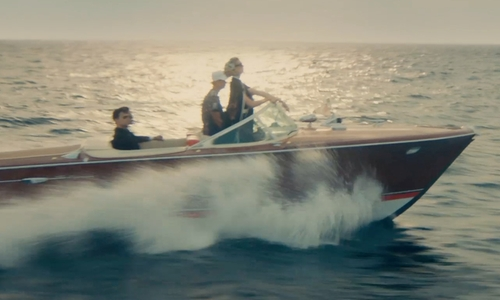 Elizabeth Debicki with Riva 1695 Aquarama Power Boat in The Man from U.N.C.L.E.