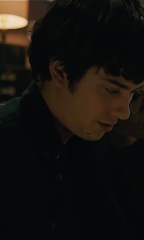 Nat Wolff with Club Monaco Button-Down Collar Cotton Chambray Shirt in Paper Towns