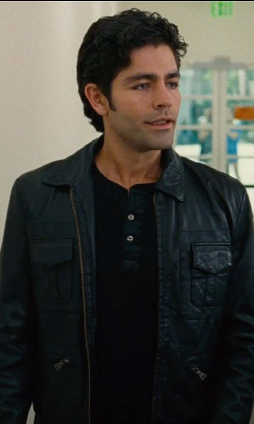 Adrian Grenier with Izod Faux Leather Shirt Collar Jacket in Entourage