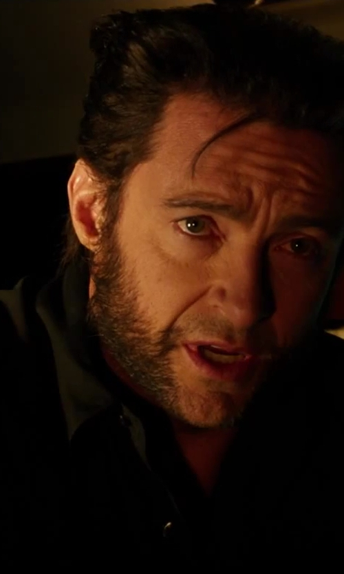 Hugh Jackman with Anto Beverly Hills Custom Made Button Down Shirt with Chest Pockets in X-Men: Days of Future Past