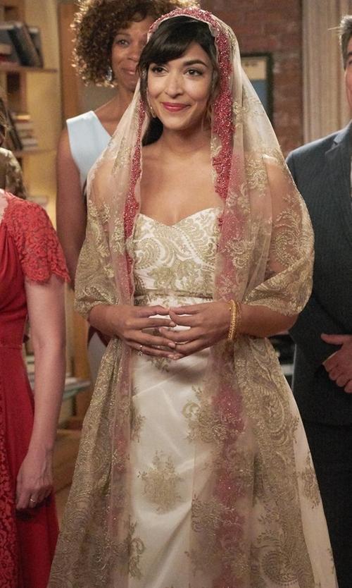 Hannah Simone with Nicole Miller Laurel Silk Faille Bridal Gown in New Girl